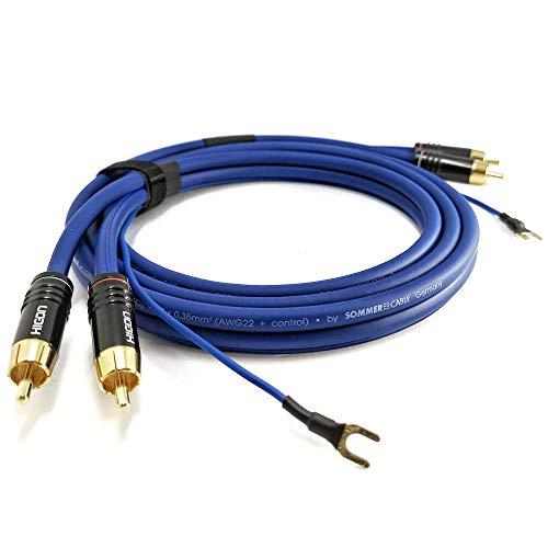NF- Phonokabel 2,5m geschirmte Audiosignalleitung Sommer Cable 2X 0,35mm² längere Masseleitung (2,6m) 1x 0,35mm² vergoldete HICON CM06 Stecker - SC81-K3-0250