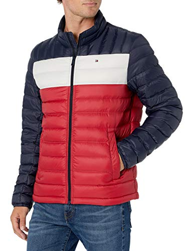 Tommy Hilfiger Men's Lightweight Water Resistant Packable Down Puffer Jacket (Standard and Big & Tall), midnight/white/red, Medium