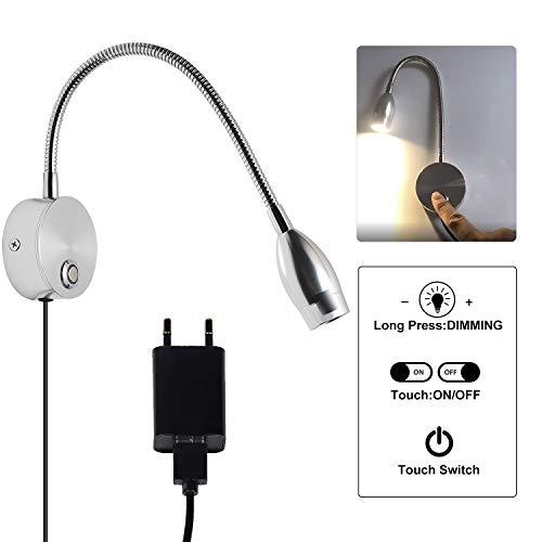 CPROSP Lampada da Lettura LED Luce da Letto con Montaggio a Muro Bianco Caldo Touch Switch Lampada da Lettura Flessibile a 40 CM Collo di Cigno Flessibile Dimmerabile, Argento