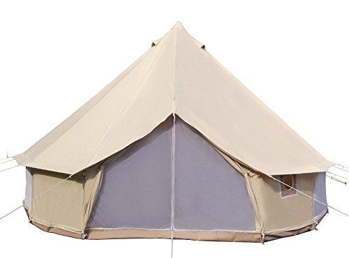 DANCHEL OUTDOOR 4-Season Waterproof Cotton Canvas Tent Bell Yurt Tents Family Glamping, 13ft=4M
