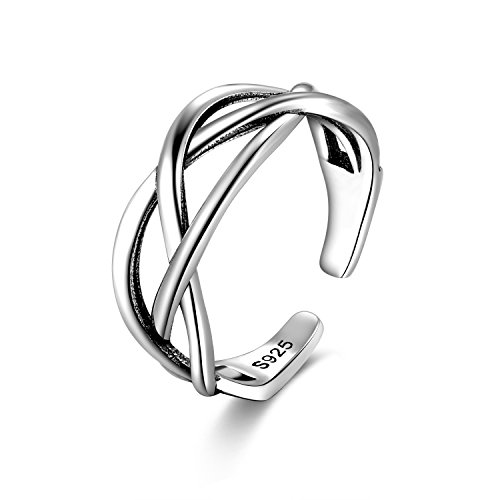 Candyfancy 925 Celtic Knot Ring Sterling Silver Forefinger Ring Open Middle Knuckle Thumb Ring for Women Adjustable Size 4-6(Three line Twist)