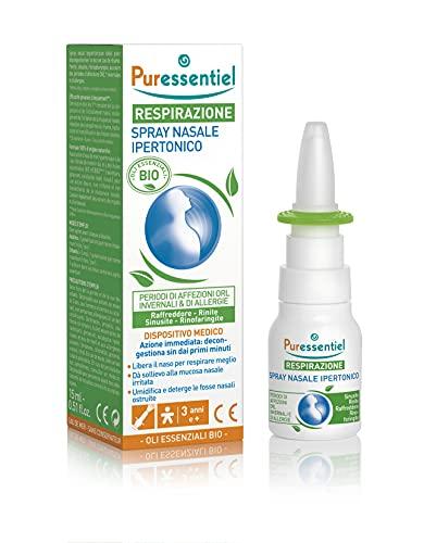 Puressentiel - Spray nasale ipertonico Bio - Dispositivo Medico - Libera il naso e decongestiona - Formula 100% di origine naturale - Acqua di mare, olio essenziale di eucalipto radiata - 15ml