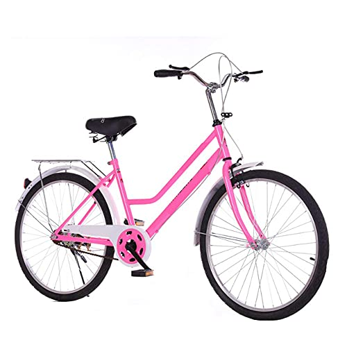 HUAQINEI Bicicleta 24 Pulgadas 26 Pulgadas Bicicleta Ligera Bicicleta vehículo recreativo Hombres y Mujeres Regalo Coche Damas Bicicleta Retro, Rosa, 24