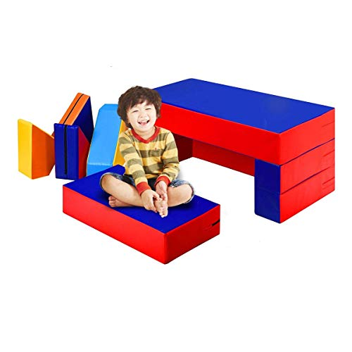 Costzon 4-in-1 Unique Shapes Convertible Climb and Crawl Foam Set, 8-Piece Colorful PU Activity Play Soft Zone, Safe Active Climbing, Crawling, Sliding for Toddler, Baby and Preschooler (Assorted)