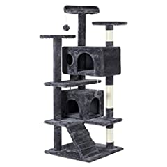 Quality and Protective Materials:The multi-level cat tree is composed of good quality 0.5in particle board with 400g skin-friendly plush covering, reinforced posts are wrapped with natural sisal rope for cats to scratch and sharpen their claws withou...