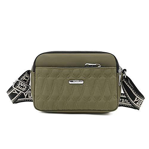 Kleine Umhängetasche für Damen, gesteppt, Nylon, Reisetasche, Schultertasche für Damen, Grün (armee-grün), Small