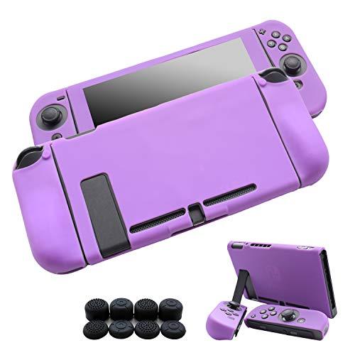 Hikfly Gel de Silicona Agarre Antideslizante Kits de Protección Carcasas Cubrir Piel para Nintendo Switch Consolas y Joy-Con Controlador Con 8pcs Gel de Silicona Empuñaduras Gorras(Púrpura)