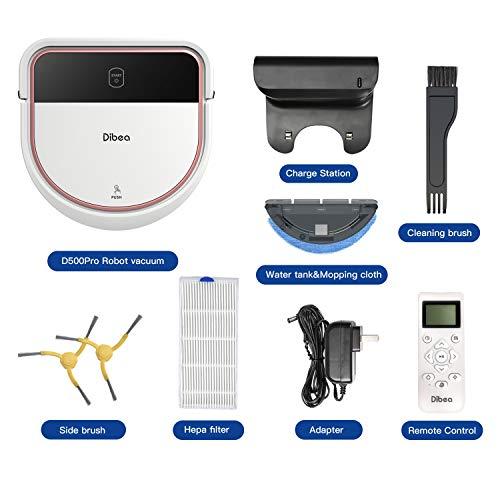 Dibea Saugroboter mit Wischfunktion Staubsauger Roboter Saugen Wischen Gleichzeitig 3 Saugstufen 110 Minuten 7.5 cm Flach Hartböden Automatische Aufladung D500 Pro Weiß - 3