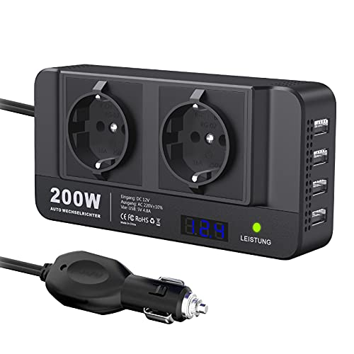 200W KFZ Spannungswandler 12V auf 230V LEICESTERCN Auto Wechselrichter Stromwandler Power Inverter Autoadapter Mit LCD-Echtzeitanzeigespannung 2 EU Steckdose 4 USB Anschlüsse für Auto Reisen Urlaub