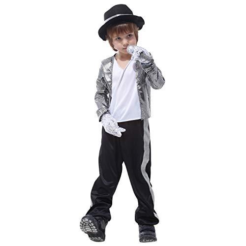De feuilles Kinder Kostüm Jungen Halloween Shinny Pailletten Kostüme Michael Jackson 80er Jahre Popstar Cosplay Kleidung Stage Performance