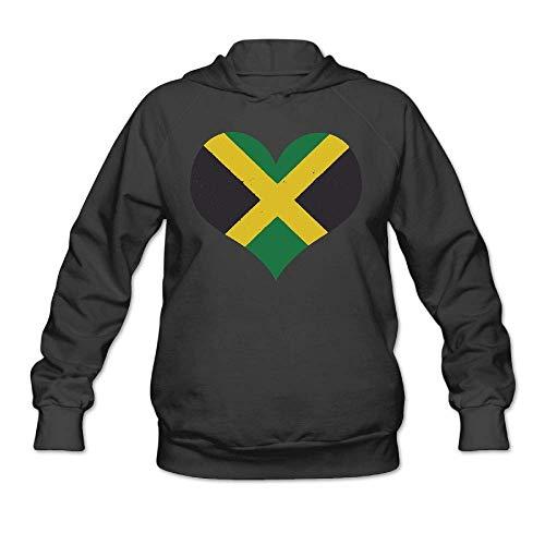 LMNcrop Women's Pullover Sweatshirt Jamaica Flag Jamaican Heart Hoodies