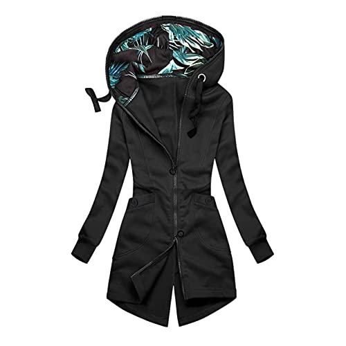 APOKIOG Sudadera con capucha para mujer, sudadera de invierno con cremallera, chaqueta de manga larga, abrigo,...