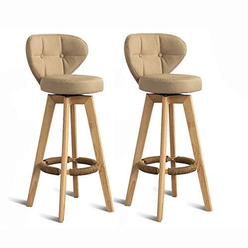 """SANSHUI Set de 2 taburetes de Bar, sillas giratorias Taburete con Volver, Pub Contador de Cocina Altura de la Serie Retro 28.7"""" 0909 (Color : Beige)"""