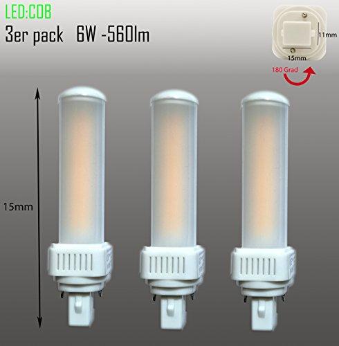 Set van 3 LED G24d PL C pin2 lampen PL-C 6W 3000k Universal G24d 2-pin vervangt Osram G24d-2 DULUX vervangt Osram G24d-2 DULUX Philips Master PL-C 2Pin G24d