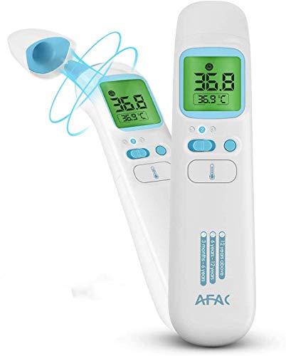 AFAC Fieberthermometer Digital Kontaktlos Thermometer Erwachsene Baby mit Magnetabdeckung, 4 in 1 Stirn Ohr Objekt Raum, 4 Farben Bildschirmanzeige, 40 Daten Speicherfunktion, Hochtemperaturalarm