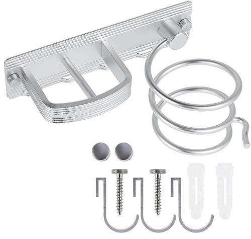 YUET Soporte profesional de aluminio plateado montado en la pared con espiral para secador de pelo, soporte para baño, organizador de almacenamiento con tres ganchos