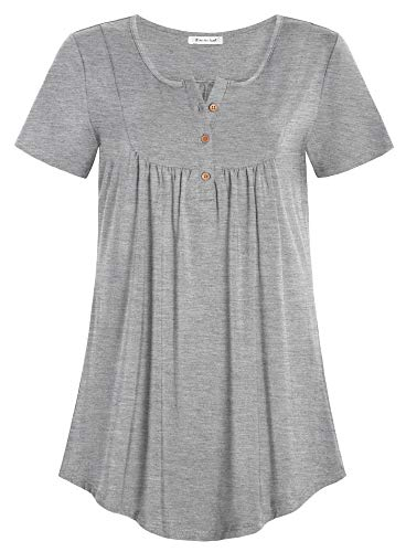 Esenchel Women's Loose Henley Blouse Flowy Tunic Top 4X Heather Gray