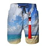 Benle Hombres Playa Bañador Shorts,Faro westkapelle países Bajos,Traje de baño con Forro de Malla de Secado rápido M