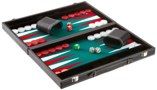 Philos 1732 - Backgammon Filzinlet groen-wit-rood, medium, koffer kunstleer