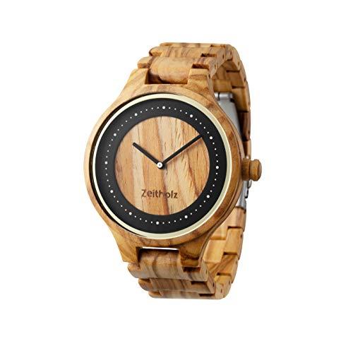 ZEITHOLZ - Orologio da uomo di legno, modello Dohma - Cassa e cinturino di legno d'ulivo naturale - Marrone e nero - Leggero, orologio robusto ed elegante - Cinturino regolabile