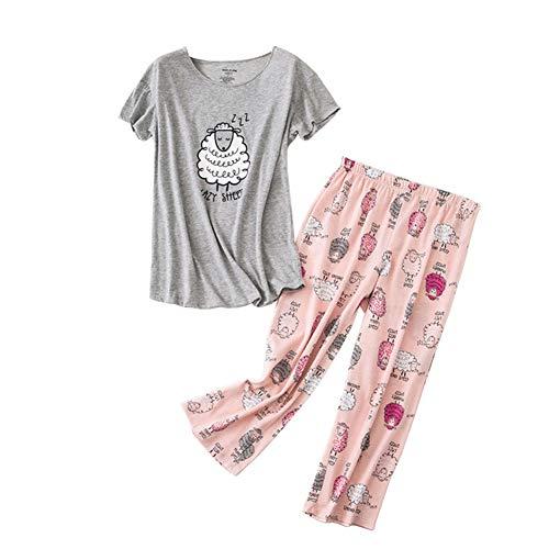 Rojeam Conjunto de Pijama Informal para Mujer Camisas de Manga Corta de algodón con Pantalones...