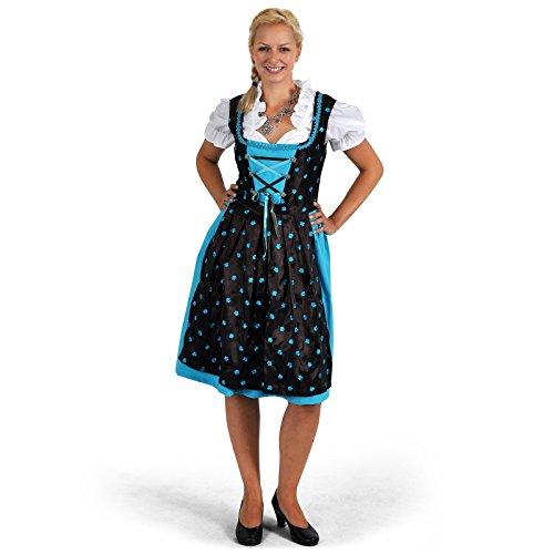 Elbenwald Dirndl Trachten Kleid Damen Midi mit Schürze türkis/braun Edelweißknöpfe Blusen Bustier perfekt zum Oktoberfest - 42