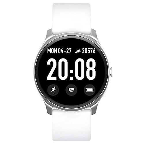 Smart Watch Men Sports Pulsera Inteligente Pantalla táctil Completa Mujeres Reloj Waterproof Sport Smartwatch para iOS & Android (Color : White)