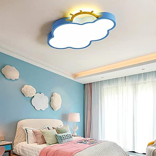 Lámpara De Techo con Forma De Sol Y Nube, Lámpara De Luz Led Creativa para Dormitorio, para Habitación De Niñas, Avión Solar, Decoración De La Habitación De Los Niños,B-Blue