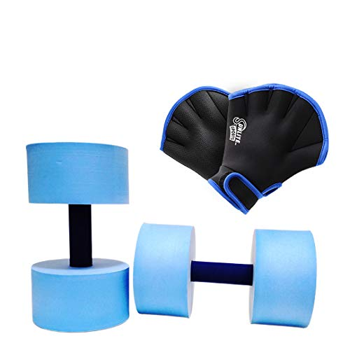 Sunlite Sports High-Density EVA-Foam Dumbbell Set, Water Weight, Soft Padded, Water Aerobics, Aqua Therapy, Pool Fitness, Water Exercise (Blue and Glove, Medium)