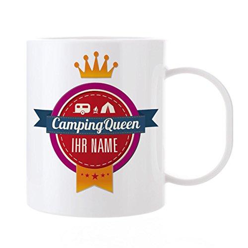 Herz & Heim® Kaffeebecher mit Namen aus Kunststoff - Camping Queen -
