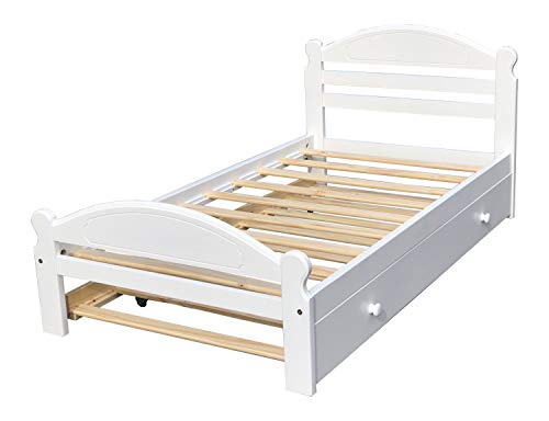 Twin Trundle Bed White Finish Solid Pine Wooden Arizona Trundle Bed Wooden Slats Support Unfinished Bedroom Single Wooden Bed Frame Hand Finished