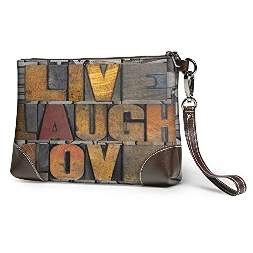 MGBWAPS Live Laugh Love Clutch, Leder Clutch Geldbörse, Kosmetiktasche, Clutch Handtasche Wristlets, siehe abbildung, Einheitsgröße
