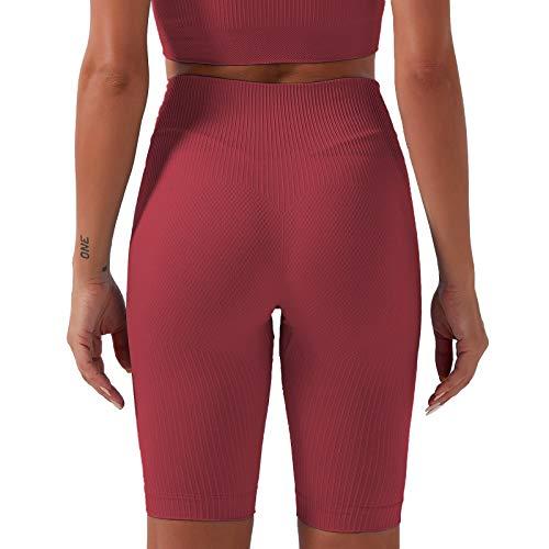 AOZLOVEC Pantalones de mujer Pantalones de yoga sin costuras Cintura alta Ropa de yoga de secado rápido Medias de fitness Yoga Running Athletic Gym M RD