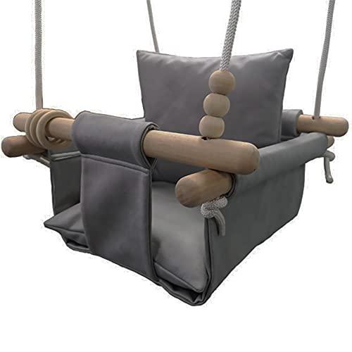 LQWE Columpio Swing de Niño, Cómodo Swing, Columpio con Cuerdas Ajustables de Longitud para Juegos de Jardín Interior para Exteriores