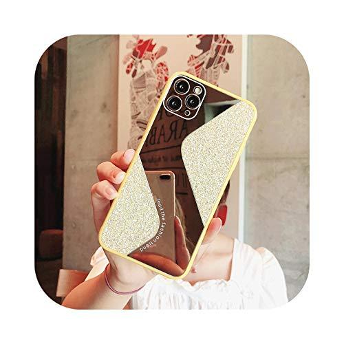 Carcasa de lujo chapada con espejo para iPhone 11, 7, 8 Plus, XR, XS X, con purpurina, espejo de maquillaje, cubierta trasera para iPhone 6, 6S Plus SE 2020, 11 fundas, color amarillo para iPhone 6