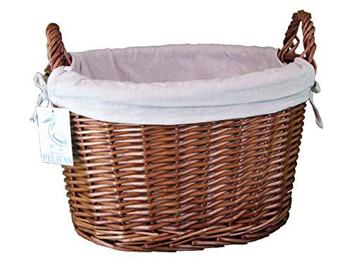 furniture and your home Intero in Vimini Colore Naturale Ovale 42x 33x 3042L Taglia 3(Large) Cotone Fodera Toy Storage Intero Willow Storage