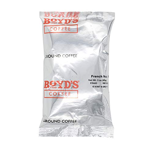 Boyd's French No. 6 Coffee - Ground Dark Roast - 3-Oz Portion Packs (Pack Of 40)