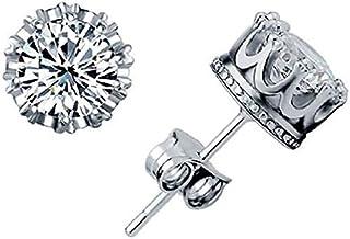 Unisex Trendy 925 Sterling Silver Jewelry AAA Cubic Zirconia Crystal Crown Set Ear Earrings Stud