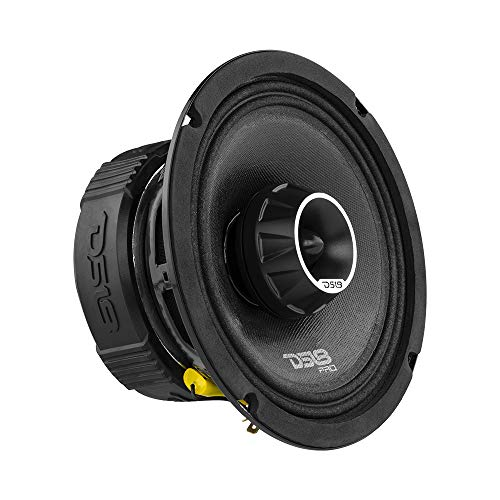 DS18 PRO-ZT6 6.5-Inch 2 Way Pro Audio Midrange Speakers with Built-in Bullet Tweeter, 4-Ohms, 450W Max, 225W RMS - Red Metal Mesh Grill Included (1 Speaker)