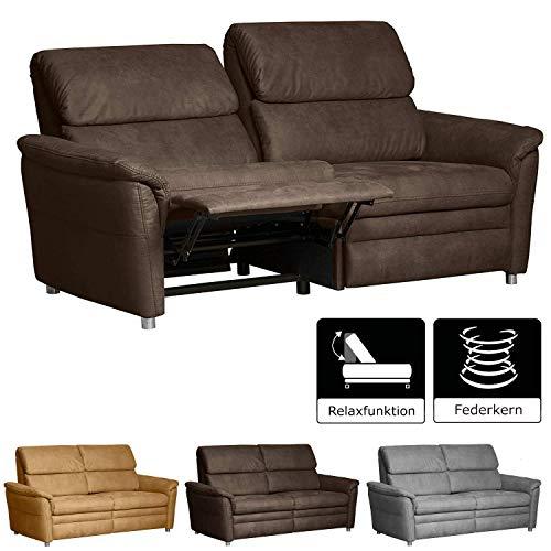 Cavadore 3-Sitzer Sofa Chalsay inkl. Relaxfunktion / mit Federkern / modernes 3er Sofa / Größe: 179 x 94 x 92 cm (BxHxT) / Farbe: Braun (chocco)