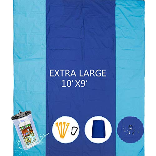 YOYOBEAR Sandfree Beach Blanket - Huge Ground Cover 9' x 10' for 7 Adults - Best Sand Proof Picnic Mat for Travel, Camping, Hiking and Music Festivals - Durable Tarp with Corner Pockets
