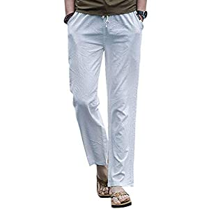 Gopune チノパン ストレッチ メンズパンツ カジュアル 大きいサイズ ボトムス リネン 無地 綿麻 ホワイト S