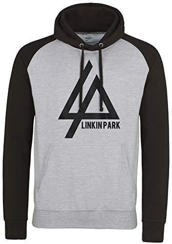 LaMAGLIERIA Unisex- Baseball Hoodie Linkin Park New Logo Black Print - Kapuzenpullover Rock Metal Band, S, Light Grey/Jet Black