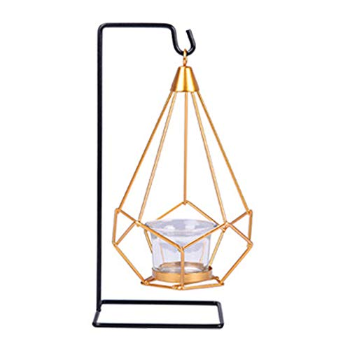 Nordic Light Candle Holder, Metal Shaped Geometric Design Tea Light Candle Holders, Candle Holder, Multifunctional One Hanging Geometric Glass Candle Holder Stand, for Home Room Table Decoration