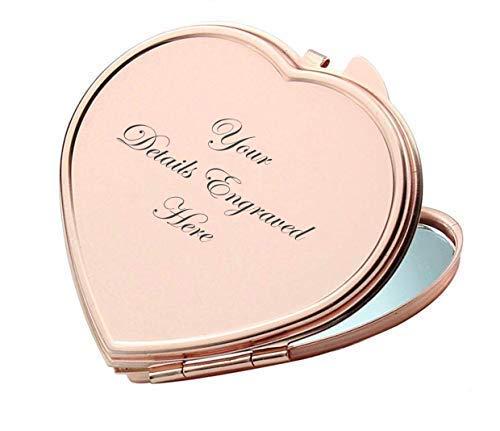 Polka Dot Sky Personnalisé Doré Rose Amour Forme Coeur Miroir Compact pour Demoiselle d'honneur, Cadeau de Mariage Tout Nom & Message Gravé