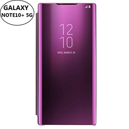 AIHülle Kompatibel mit Samsung Galaxy Note 10+ Plus 5G Hülle-Folio-Schutzhülle für Galaxy Note 10+ 5G, Flip Handy Hülle Clear View Standing Cover (Lila)