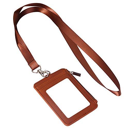 Badge Houder met Lanyard, Verticale Stijl Multi Slots Zachte PU Lederen Badge Houder met Detatchable Neck Strap & Clear Window, Geweldig voor ID Card Naam Tag Bus Pass Ticket