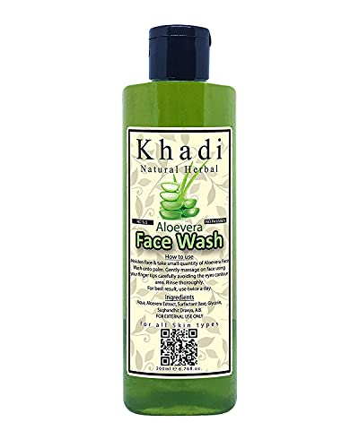 Khadi Natural Herbal Aloe Vera Face Wash Suitable For Oily And Dry Skin With Anti Acne Face Cleaner Properties For Men And Women 200Ml Pack