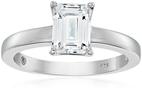 Platinum-Plated Silver Emerald-Cut Solitaire Ring made with Swarovski Zirconia, Size 8