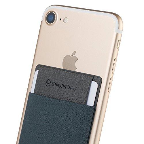 Sinjimoru Handy Kartenetui für Kreditkarten & Bargeld, Slim Wallet Smartphone Kartenhalter zum aufkleben ID Card Holder für iPhone und Android, Sinji Pouch Flap Grau.